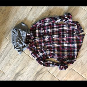 2 plaid hooded button ups